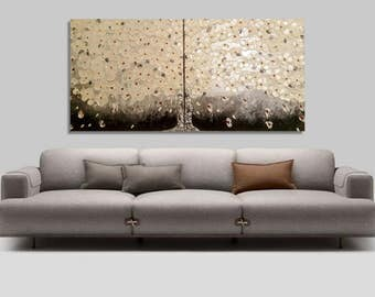 Multi panel 2 piece painting (Set of 2), abstract Blossom Tree paintings, white flowers impasto palette knife oil painting, 3D painting