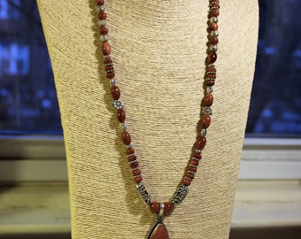 Beaded necklace, statement necklace, brown necklace, silver necklace