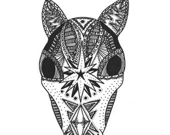 A6 Horse Head Mandala Thank You Card Black and White Patterned Drawing