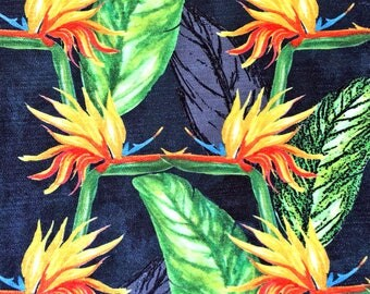 Tropical Bird of Paradise Flower Upholstery Chenille Fabric