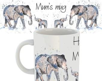 Elephant mug, elephant gift, elephant, elephant family, ceramic mug, gift for mum