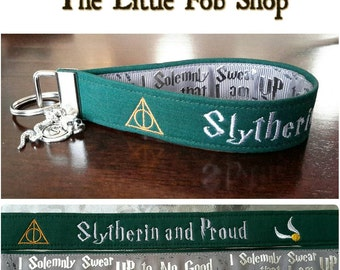 "Embroidered Harry Potter Inspired ""Slytherin and Proud"" Key Fob/Wristlet with Charms"