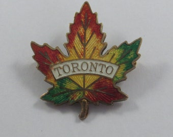 Enameled Toronto Pin with Maple Leaf Shape Fastens Very Well Sterling Silver Charm or Pendant.