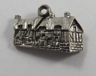 3D Cabin or Lodge Sterling Silver Charm or Pendant.