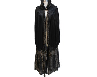 1920s Black Silk Cocoon Cape With Gold Lamé Lace Accents