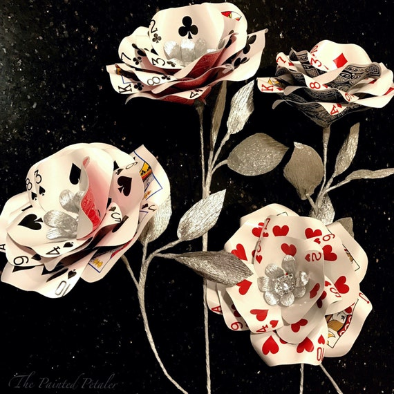 Silver Playing Card Flower | Casino Party | Vegas Wedding | Poker | Rhinestone Bling | Bridal Flowers| Paper Flower| Alice in Wonderland