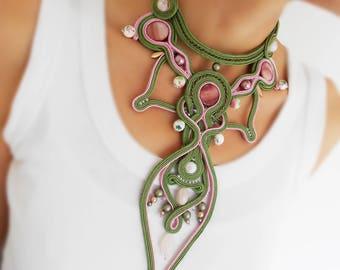 OOAK soutache statement necklace green necklace floral jewelry set gift idea fiber art jewelry fairytail jewelry victorian choker necklace