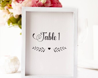 Rustic Wedding Printable Table Numbers DIY/White or Kraft/Calligraphy wedding table numbers/Black and white diner table