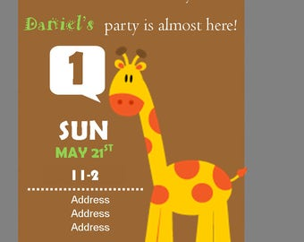 Giraffe Birthday Invite