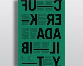 F-ck Readability poster green — typography print / typographic print / typographic poster / typographic wall art / swear word / word prints