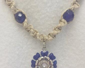 Sparkle Flower Pendant Hemp Necklace