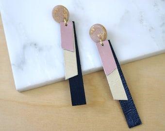 Geometric earrings, leather earrings, statement earrings for women, extra long earrings, polymer clay jewelry, dangle earrings