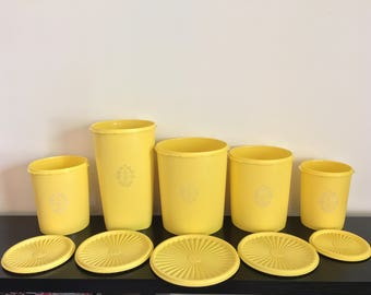 Vintage Tupperware Yellow Canister Set