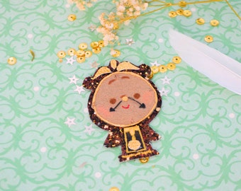Beauty and the Beast inspired bow, Cogsworth inspired bow, French clock hands mustache