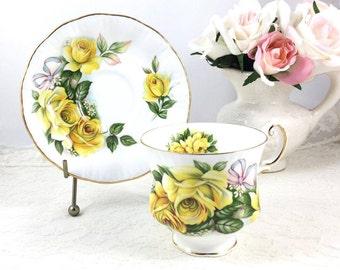 Royal Crest Bone China Yellow Roses Tea Cup and Saucer, Royal Crest England ~ Large Yellow Roses