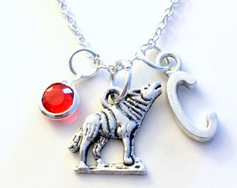 Wolf Necklace, Gift for Little Boy Jewelry Coyote Wolves Wild Dog Animal Silver charm Initial Birthstone present Short Long Chain Sterling