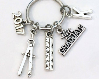 Graduation Present for Architect Keychain, 2017 2018 Engineer Key Chain, Graduate Grad Keyring with Initial letter, men Women man Industrial