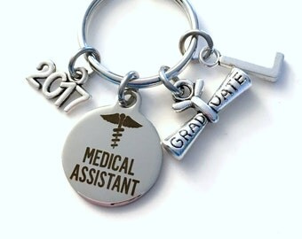 Medical Assistant Graduation Gift, MA Keychain, Gift for MA Student Grad Keyring, MA Key Chain initial letter custom 2015 2016 2017 or 2018