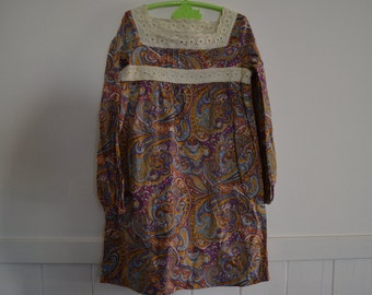 girls peasant dress / party dress size 10 / hippie / boho / paisley print / 100% cotton
