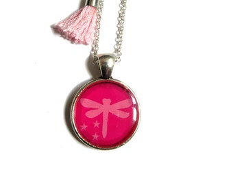 DRAGONFLY NECKLACE - Pink dragonfly necklace - Dragonfly jewelry - Insect jewelry, Girl Necklace - Kids necklace - Flower Girl