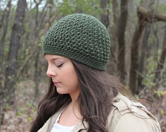 Green Beanie, Green Hat, Green Crochet Beanie, Green Crochet Hat, Skull Cap, Green Women's Hat, Green Winter Hat, THE ACADIA