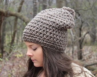 Pom Pom Hat, Slouchy Hat, Slouchy Beanie, Crochet Beanie, Crochet Hat, Winter Hat, Brown Women's Hat, Brown Beanie, Brown Hat, THE HUDSON