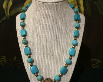 Turquoise Bead And Brass Necklace