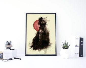 Darth Vader Wall Art, Japanese Star Wars, Darth Vader Painting, Star Wars Art Print, Star Wars Painting, Dark Vader, Samurai Art