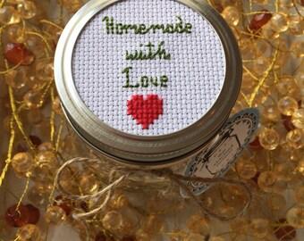 Homemade With Love Mason Jar, Mason Jar Decor, Mason Jar Lid, Homemade Treat Jar, Mason Jar Gift, Cross Stitch Art, Cookie jar, Cocoa Jar