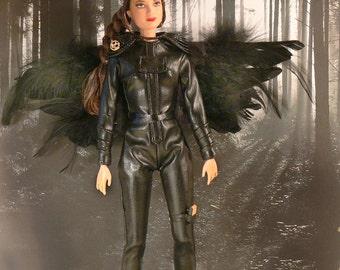 Jennifer Lawrence Mockingjay HUNGER GAMES Katniss Everdeen Custom Doll Battle Attire WINGS