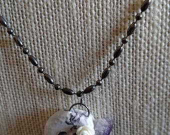 Quartz Necklace - Amethyst Necklace - Skull Necklace - Ball chain