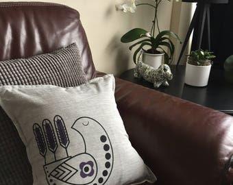 Scandinavian bird cushion, screen printed