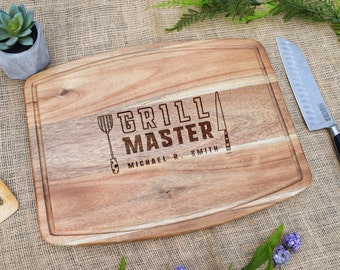Grill Master w/ Name Cutting Board, Personalized Cutting Board, Custom, Father's Day, Gift for Dad, Husband, Laser Engraved, Grill, Grilling