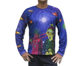 Psychedelic Long Sleeve T-shirt 'Spaced Out'. Sublimation print, Mad Tribe. Trippy, festival, rave, psy trance, cd art, retro sci-fi, robot