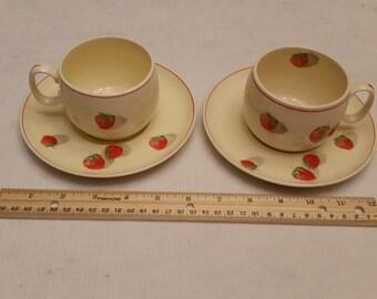 2 vintage 1940 era cavitt shaw tea cups and saucer sets - w. s. george strawberry design shortcake pattern - porcelain china kitchen teacups