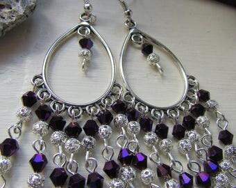 Purple and silver earrings, Purple earrings, Chandelier earrings, Silver plated earrings, Beaded earrings, Dangle earrings, Gifts for her