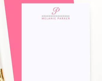 Personalized monogram stationary, custom stationery set for girls, monogram note cards, flat note cards, modern thank you cards,PS024