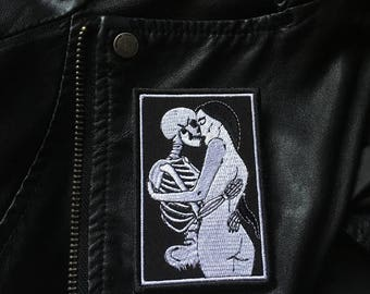 In Your Arms / Death Lovers Tarot / Skeleton Skull Dark Goth Punk Occult Patch / Embroidered Patch