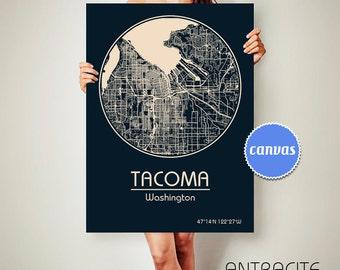 TACOMA Washington CANVAS Map Tacoma Washington Poster City Map Tacoma Washington Art Print Tacoma Washington