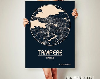 TAMPERE Finland CANVAS Map Tampere Finland Poster City Map Tampere Finland Art Print Tampere Finland