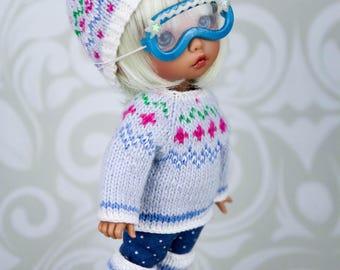 Winter sets for pukifee (hat, trousers, sweater, leg warmers, ski goggles) 1/8  BJD dolls