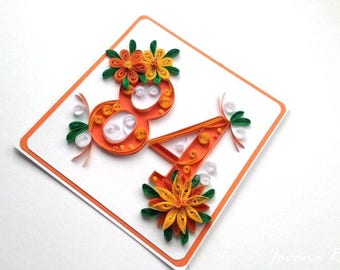 Big personalised greeting card/Handmade/Quilling/Birthday/Anniversary/50th birthday/18th birthday/ 90th birthday/ 20th birthday