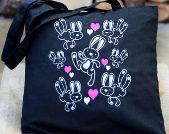 Best4bunny rabbit tote bag. Black bag with white & pink bunny rabbit print design. 100% Cotton, 36x39cm Long Handles.