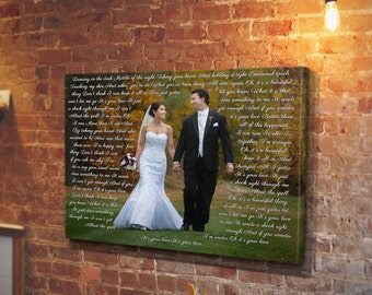 Custom Photo Canvas, Personalized Picture Vows, Christmas Gift, Picture canvas, Photo with words, Canvas wall picture, Words on pictures