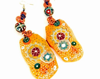 Artistic Orange Earrings/ Unique Two Sided Earrings/ Modern Polymer Earrings/ Orange Drop Earrings/ Statement Colorful Earrings