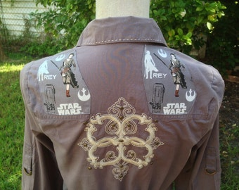 Star Wars The Force Awakens Shirt- Star Wars Blouse- Star Wars Top- Rey- Woman's Star Wars Gift- Eco- Size Medium