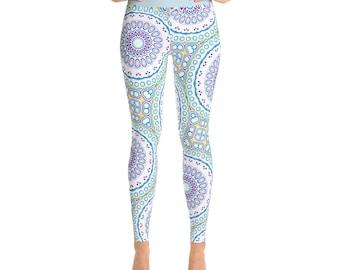 Spring Leggings - Fun Leggings, High Waist Blue and Purple Mandala Pattern Footless Tights, Stretchy Pants, Yoga Clothing