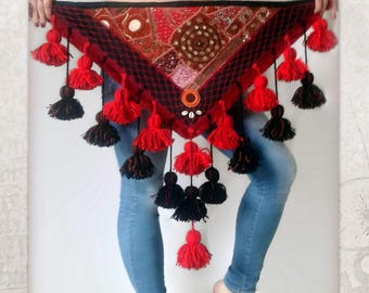 ATS Costume Hip Scarf, Red  Tassels Hip Scarf, Tribal Dance Hip Scarf, ATS Hip Shawl, Red Hip Scarf Tribal Hip Wrap, Black and Red Tassels
