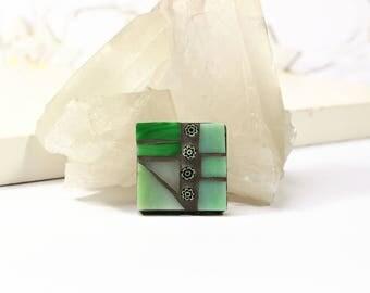 Pale Green Brooch, Green Mosaic Jewelry, Mosaic Brooch, Mosaic Pin, Mosaic Jewellery, Millefiori Jewellery, Millefiori Brooch, Gift for Her