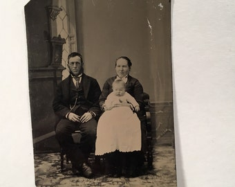 Tintype of a Guy with Mutton Chops and Family, 19th Century Antique Photo, Tintype Photograph